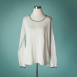 Vince S Light Gray Contrast Trim Slub Sweater